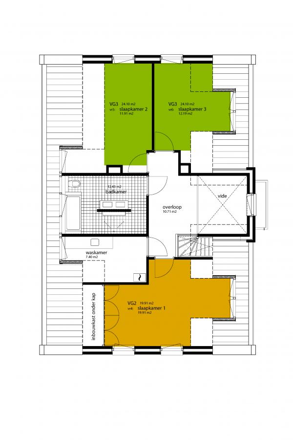 Oppervlakte 1e verdieping woning